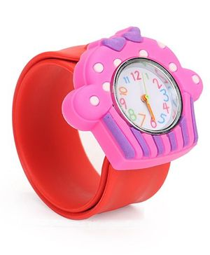 Analog Wrist Watch Ice-Cream Shape Dial - Pink Red