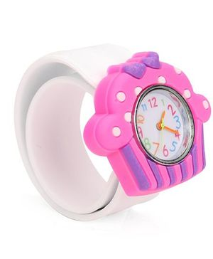 Analog Wrist Watch Ice-Cream Shape Dial - Pink White