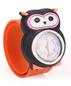 Analog Wrist Watch Owl Shape Dial - Orange Black