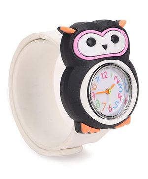 Analog Wrist Watch Owl Shape Dial - White Black