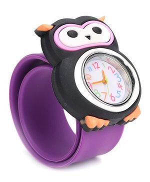Analog Wrist Watch Owl Shape Dial - Purple Black