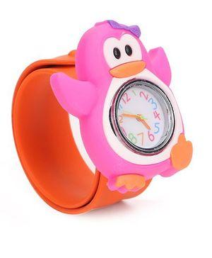 Analog Wrist Watch Penguin Shape Dial - Orange Pink