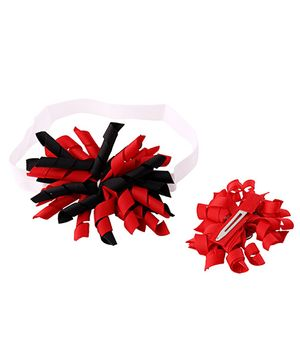 Needybee Korker Bow Head Band & Hair Clip - Red & Black