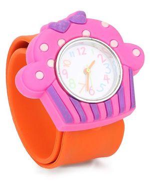 Analog Wrist Watch Ice-Cream Shape Dial - Orange Pink