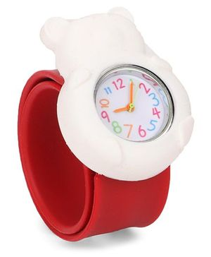Analog Wrist Watch Bear Shape Dial - White Red