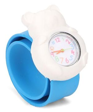 Analog Wrist Watch Bear Shape Dial - Blue White