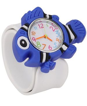 Analog Wrist Watch Fish Shape Dial - White Blue