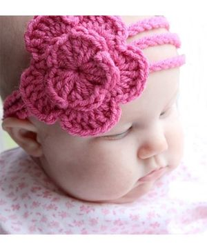 Love Crochet Art Crochet Flower Head Band For Girl - Pink