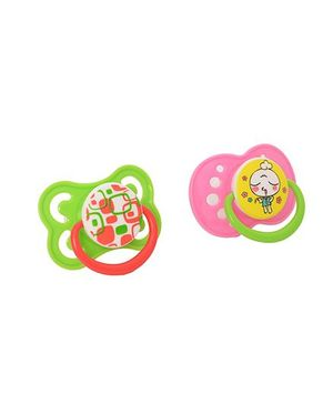 Buddyboo Dynamic Soothers Spark Pacifier Pack of 2 - Green Pink