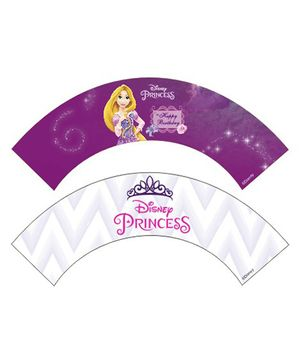 Disney Princess Rapunzel Cupcake Wrappers Pack of 10  - Purple White