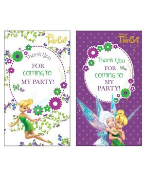 Disney Tinkerbell Thankyou Cards Pack of 10 - White Purple