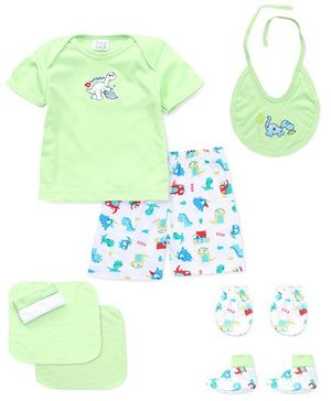 Mee Mee 8 Pieces Clothing Gift Set Floral Print & Embroidery - Green