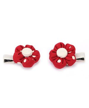 De Berry Dot Print Flower Hair Clip - Red