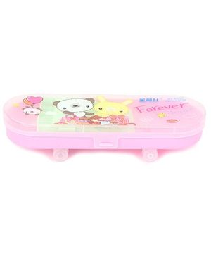 Sparrow Print Pencil Box - Pink Green