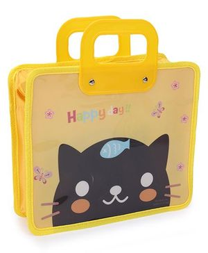 Folder Bag With Handles - Yellow Black