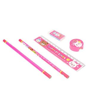 Stationery Set Happy Friend Print Pink - 5 Pieces