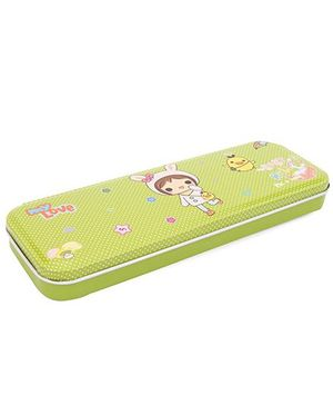 My Love & Baby Hello Print Pencil Box - Green