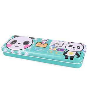 Bear Print Pencil Box - Aqua Green