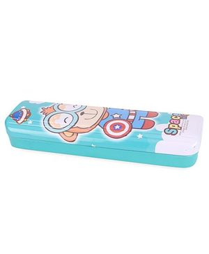 Space Wings Print Pencil Box - Aqua Green