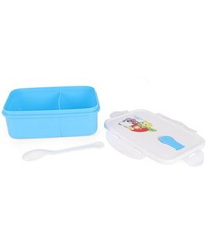 Lunch Box With Spoon Animal Fruit Print - Blue