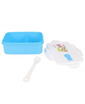 Lunch Box With Spoon Apple Print - Blue