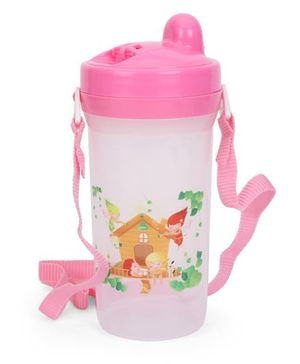Kids Water Bottle With Strap Home Print Pink - 500 ml