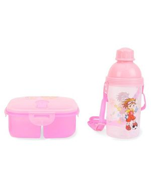 Square Lunch Box And Water Bottle - Pink & White