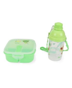 Square Lunch Box And Water Bottle Cartoon Print - Green & White