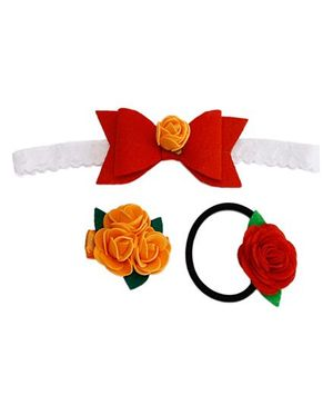D'Chica A Chic Set Of 3 Flowers And Bows Hair Accessories - Multicolour