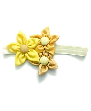 Knotty Ribbons Handmade Three Flower Bunch Headband - Yellow