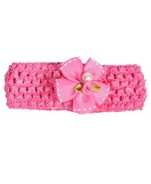 Miss Diva Pearl Bow Soft Headband - Magenta