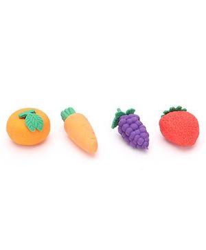 Fruits Shape Eraser Set Of 4 - Multi Color