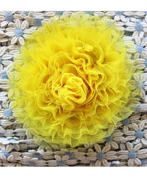 Many Frocks Flower Frilled Clip - Lime Yellow