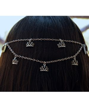 Pretty Ponytails Crown Tiara Chain Attached Hair Clip - Silver