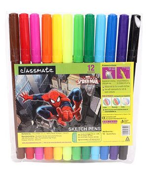 Classmate Spider Man Sketch Pen - Multicolor 12 shades