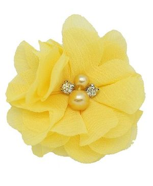Angel Closet Chiffon Flower Hair Clip - Yellow