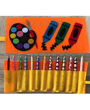 Kalacaree Crayons Patch Roller Pencil Pouch - Orange