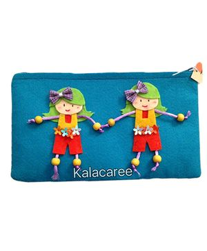 Kalacaree Playing Kids Patch Pencil Pouch - Blue