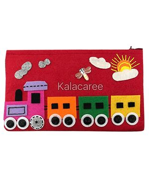 Kalacaree Train Engine Patch Pencil Pouch - Red