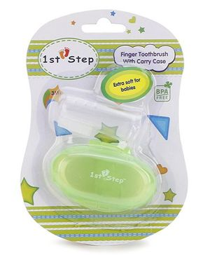 1st Step - Kids Finger Toothbrush With Carry Case - Green
