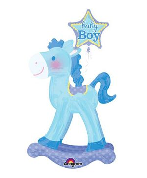 Bling It On Rocking Horse Baby Foil Balloon - Blue