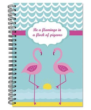 Little Jamun A5 Size Spiral Note Book Flamingo Theme - Multi Color