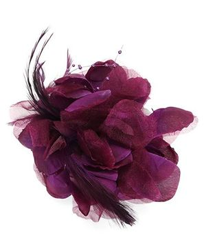 Bowtastic Flower With Feather Clip - Purple