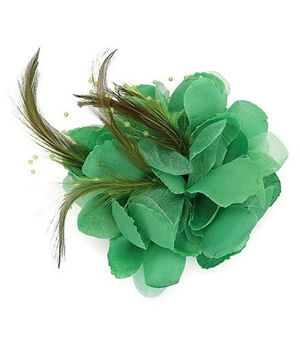 Bowtastic Flower With Feather Clip - Green