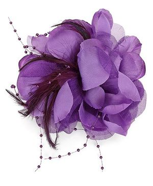 Bowtastic Flower With Feather Clip - Mauve