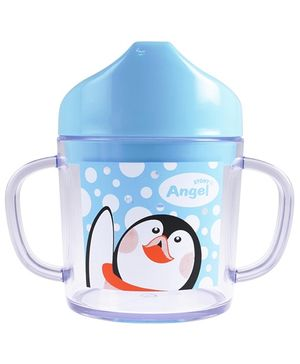Angel Stony Clear Drinking Cup Penguin Print Blue 200 ml