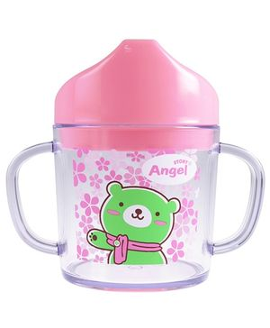 Angel Stony Clear Drinking Cup Bear Print Pink 200 ml