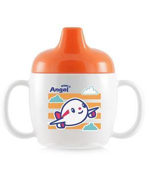 Stony Angel Drinking Cup Aeroplane Print Orange 200 ml
