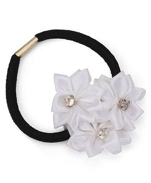 Funkrafts Triple Flower Applique Ponytail Holder - White