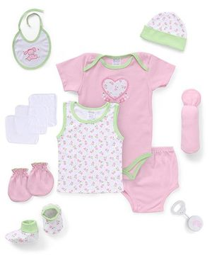 Montaly Cloth Gift Set Heart Print Pink White Green - 12 Pieces